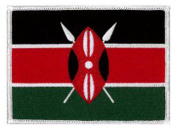 """Kenya Flag (embroidered) Patch (12 x 9CM) 4 3/4""""x 3 1/2"""""""