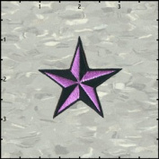 Star Novelty Iron On Embroidered Patch - 5.1cm 3D NEON Purple / Black Nautical Star Applique
