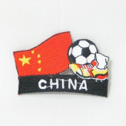 China Soccer Football Kick Country Flag Embroidered Iron on Patch Crest Badge ... 5.1cm X 4.4cm .. New