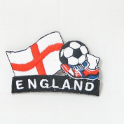England Soccer Football Kick Country Flag Embroidered Iron on Patch Crest Badge ... 5.1cm X 4.4cm .. New