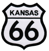 Route 66 Kansas Embroidered Patch Iron-On Highway Road Sign Biker Emblem