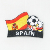 Spain Espana Soccer Football Kick Country Flag Embroidered Iron on Patch Crest Badge ... 5.1cm X 4.4cm .. New