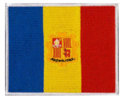 """Andorra (embroidered) Country Flag Patch 12 cm x 10cm (4 3/4"""" X 4"""") approx"""