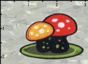 Artist Chico Von Spoon Mushroom Duo Embroidered Iron On Applique Patch FD