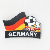 Germany Deutschland Soccer Football Kick Country Flag Embroidered Iron on Patch Crest Badge ... 5.1cm X 4.4cm .. New