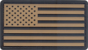 Khaki & Black US Flag PVC Hook Back Patch