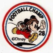Mickey Mouse Football Champ Patches 7x7 Cm Cartoon Patches Sew/iron on Patch to Cloth, Jacket, Jean, Cap, T-shirt and Etc.