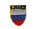 Russia Country Flag OVAL SHIELD Embroidered Iron on Patch Crest Badge 5.1cm X 6.4cm .. New