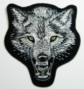 Small Face Wolf Grey Embroidered Iron on Patch 7x7.5 Cm
