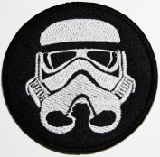 Star Wars 7.5x7.5 cm Round Black & White Stormtrooper Emblem CREW Uniform Costume Embroidered Iron On or Sew On Patch