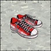 Tennis Shoes Plaid Embroidered Iron On Applique Patch FD