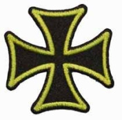 5.1cm Maltese Cross Embroidered Iron On Biker Applique Patch FD - Green
