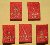 50 pcs WOVEN CLOTHING LABELS SIZE TAGS GOLD RED - XS S M L XL