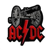 AC/DC Music Band patch 8.6x9.3 cm Embroidered iron/sew on Patch to Cloth, Jacket, Jean, Cap, T-shirt and Etc.