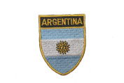 Argentina Country Flag OVAL SHIELD Embroidered Iron on Patch Crest Badge 5.1cm X 6.4cm .. New
