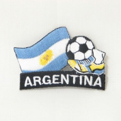 Argentina Soccer Football Kick Country Flag Embroidered Iron on Patch Crest Badge ... 5.1cm X 4.4cm .. New