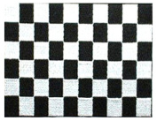 "Black & White Chequered Embroidered Patch 13cm x 10cm (approx) 5"" x 4"""