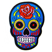BLUE Mexican Sugar Skull Awesome Cool Embroidered Iron On Patches WITH.