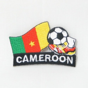 Cameroon Soccer Football Kick Country Flag Embroidered Iron on Patch Crest Badge ... 5.1cm X 4.4cm .. New