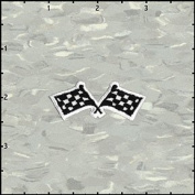 Chequered Racing Flag Car Embroidered Iron On Badge Applique Patch FD - 5.1cm