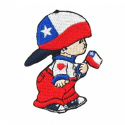 Chile Little Boy Country Flag Embroidered Iron on Patch Crest Badge ... 7.6cm X 5.1cm .. New