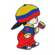 Columbia Little Boy Country Flag Embroidered Iron on Patch Crest Badge ... 7.6cm X 5.1cm .. New