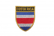 Costa Rica Country Flag OVAL SHIELD Embroidered Iron on Patch Crest Badge 5.1cm X 6.4cm .. New