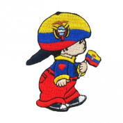 Ecuador Little Boy Country Flag Embroidered Iron on Patch Crest Badge ... 7.6cm X 5.1cm .. New