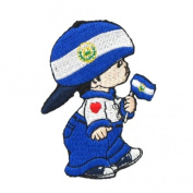 Ei Salvador Little Boy Country Flag Embroidered Iron on Patch Crest Badge ... 7.6cm X 5.1cm .. New