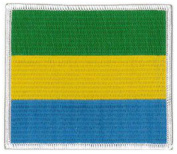 "Gabon Flag Embroidered Patch 4""x 3 1/2"""
