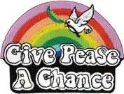 Give PeaSe a Chance (Rainbow) embroidered Patch 8cm X 6cm
