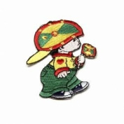 Grenada Little Boy Country Flag Embroidered Iron on Patch Crest Badge ... 7.6cm X 5.1cm .. New