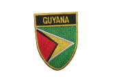 Guyana Country Flag OVAL SHIELD Embroidered Iron on Patch Crest Badge 5.1cm X 6.4cm .. New