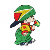 Guyana Little Boy Country Flag Embroidered Iron on Patch Crest Badge ... 7.6cm X 5.1cm .. New