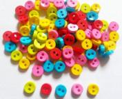 100 Pcs Tiny Button Micro Button 2hole Size 6 Mm Mix Colour
