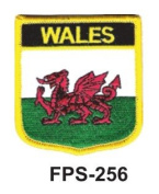 5.1cm - 1.3cm X 2-3/4 Flag Embroidered Shield Wales
