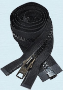90cm Vislon Zipper ~ YKK #10 Moulded Extra-Heavy Separating - 580 Black