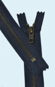 60cm Exposed Zipper YKK #5 Antique Brass ~ Closed End ~ YKK Colour 560 Navy