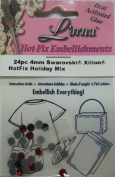 Kandi Hot Fix 24pc 4mm. Hotfix Holiday Mix