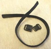 "Studio Kat Designs 3/8"" (9.525mm) Wide Centre Release Buckle w/1 Foot Nylon Webbing ~ Black ~ 1 Set"