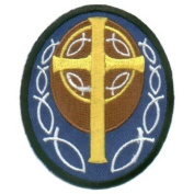 Blue Patch With Gold Cross Cool Christian Biker Patch!!