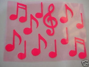Music Notes Pink Iron-On Fabric Transfer