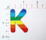 K Rainbow Letter Words Alphabet Embroidered Iron on Patch Sew on DIY Patches