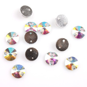 AB Faceted Sew-on Flatback Resin Rhinestone Embellishments Buttons, Applique 8mm 240