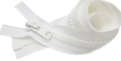 90cm Vislon Zipper ~ YKK #10 Moulded Extra-Heavy Separating - 501 White
