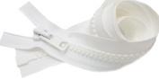 90cm Vislon Zipper ~ YKK #10 Moulded Extra-Heavy Separating - 501 White