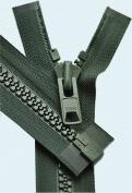 90cm Vislon Zipper ~ YKK #10 Moulded Extra-Heavy Separating - 890 Dark Green