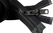 Bimini Top #10 Black Marine Double Pull Zipper 90cm ~ YKK Zipper Reversible Moulded with 2 Heads Separating