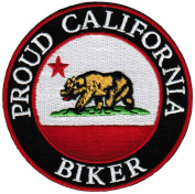 Proud California Biker Embroidered Patch Californian Flag Iron-On Motorcycle Emblem