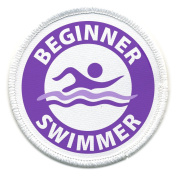 Purple BEGINNER SWIMMER Pool Safety Alert 7.6cm Sew-on Patch